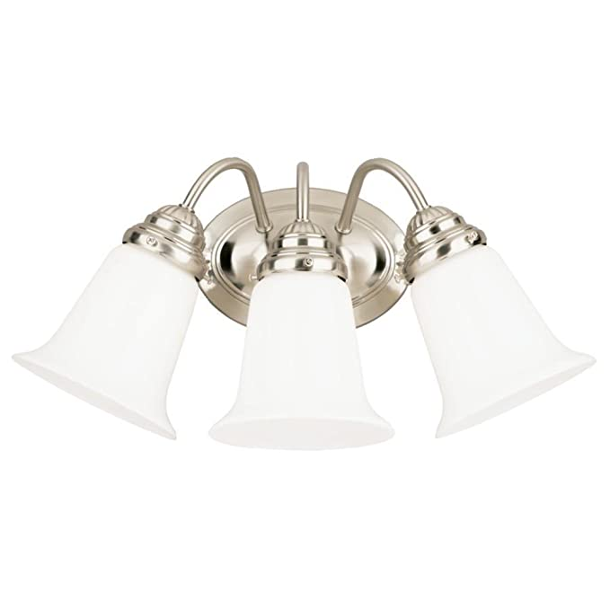 Westinghouse Lighting 6649700 Three Light Interior Wall Fixture Brushed Nickel Finish With White Opal Glass Sconces Com