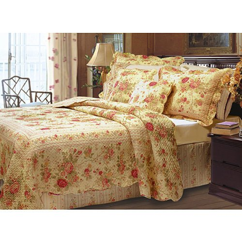 chic shabby romantic rose bedding quilt set queen - Romantic Bed Sets