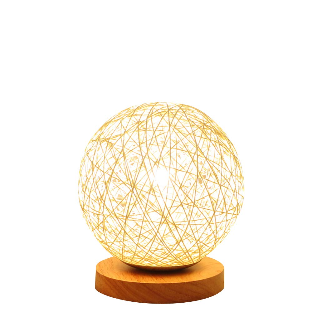 BOKT Minimalist Novelty Romantic Solid Wood Table Lamp for Bedroom Bedside Desk Lamp Home Decor Rattan Ball Lampshade (Beige) by BOKT (Image #1)