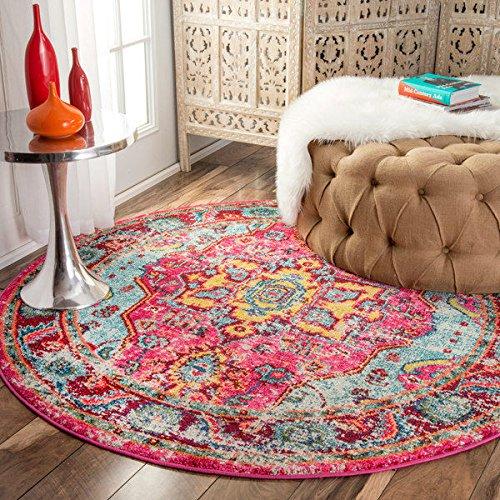 nuLOOM Distressed Abstract Vintage Oriental Multi Round Rug (5'3 Round) - Pink Oriental Rug: Amazon.com