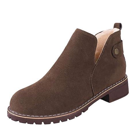 ❤ Botas de Felpa Vintage de Mujer, Zapatos de Punta Redonda de Invierno para Mujer Botines Planos de Gamuza de Cerrojo de Color sólido Martin Boots ...