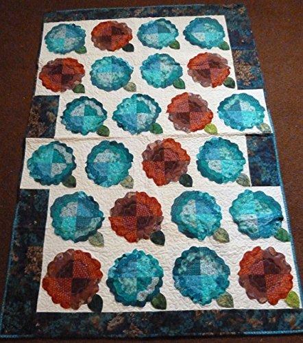Rust & Turquoise Poppies Lap Quilt - Original Design