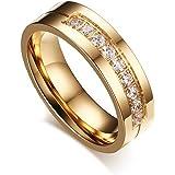 Beydodo Edelstahl Rings(Eheringe) Inlay Einer Reihe von CZ Streifen Design Promise Ring Gold 1PC