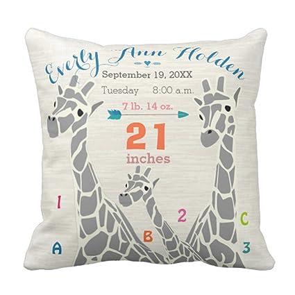 Amazon Emvency Throw Pillow Cover Giraffe Family Baby Girl Mesmerizing Baby Girl Decorative Pillows