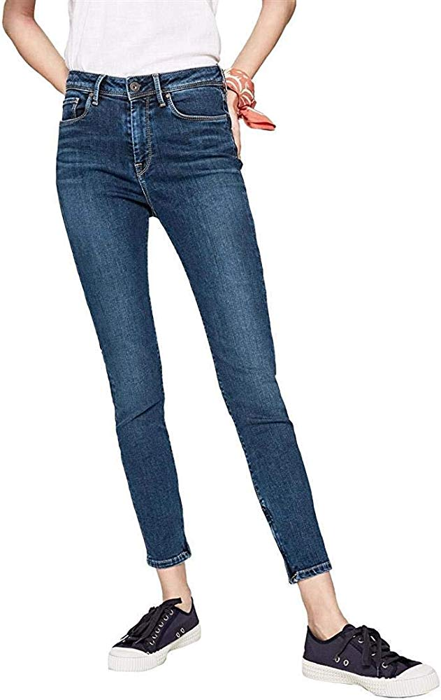 Pepe Jeans Women's Cher High Skinny Jeans, Blue (Dark Used