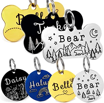 The Best Dog Bone Pet Tags Custom Engraved Pet Tags in Colored Anodized Aluminum and Stainless Steel.