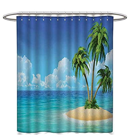 Starogs Island Shower Curtains Digital Printing Illustration Desert Exotic Tree Skyline Paradise Rest Custom Made