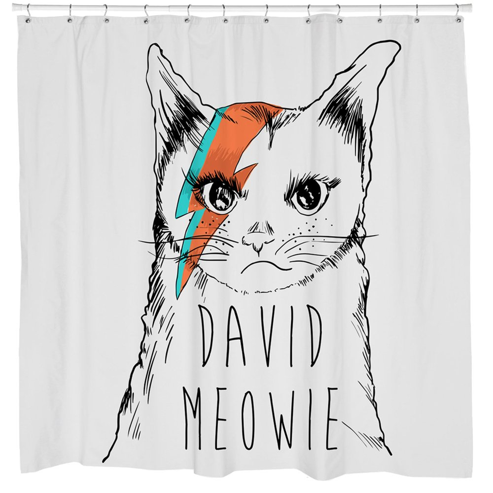 David Bowie Shower Curtain - Funny Grumpy Cat Bathroom Decor - Iconic Album Cover Art - Waterproof - Fits Bathtub - 72 x 72