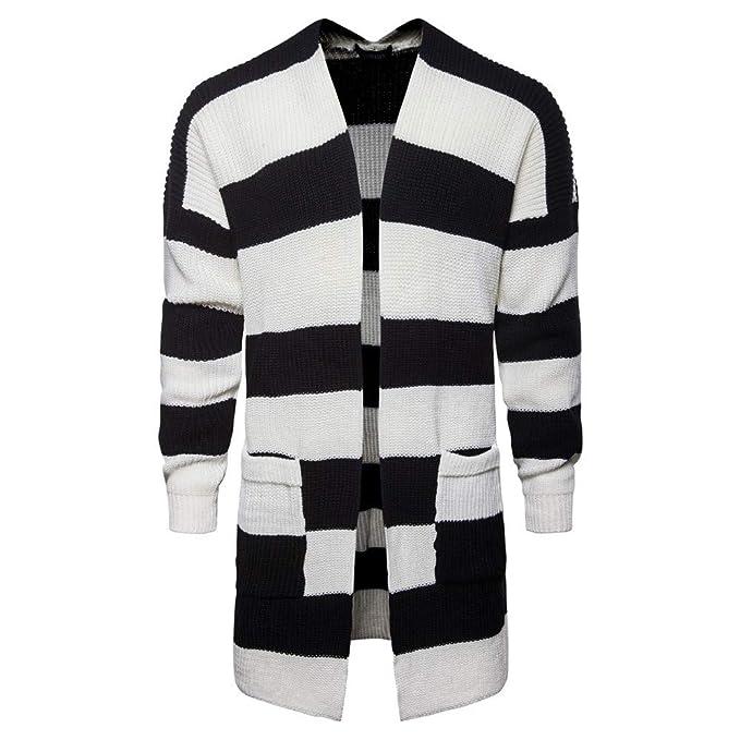 Internet-Chaqueta de Punto Estampada con Rayas Negras y Blancas para Hombre, Rebeca Larga, suéter Estampado(M-2XL): Amazon.es: Ropa y accesorios