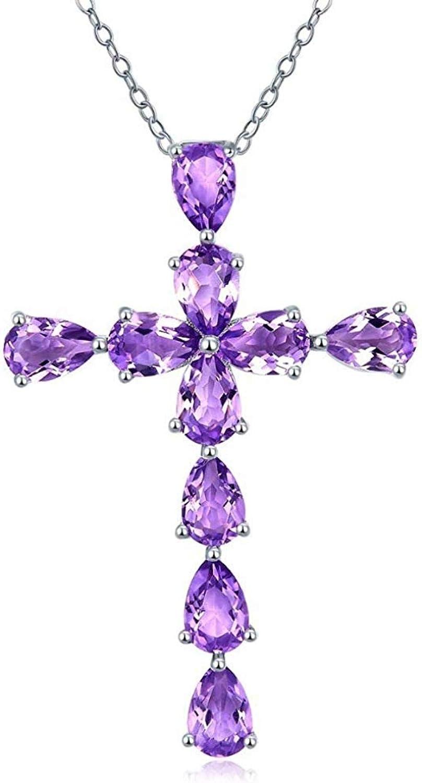 RUiillg Collar de Mujer、Gargantilla Collar de clavícula con Colgante de Cruz de Piedras Preciosas de Color Natural Plateado Amatista 925