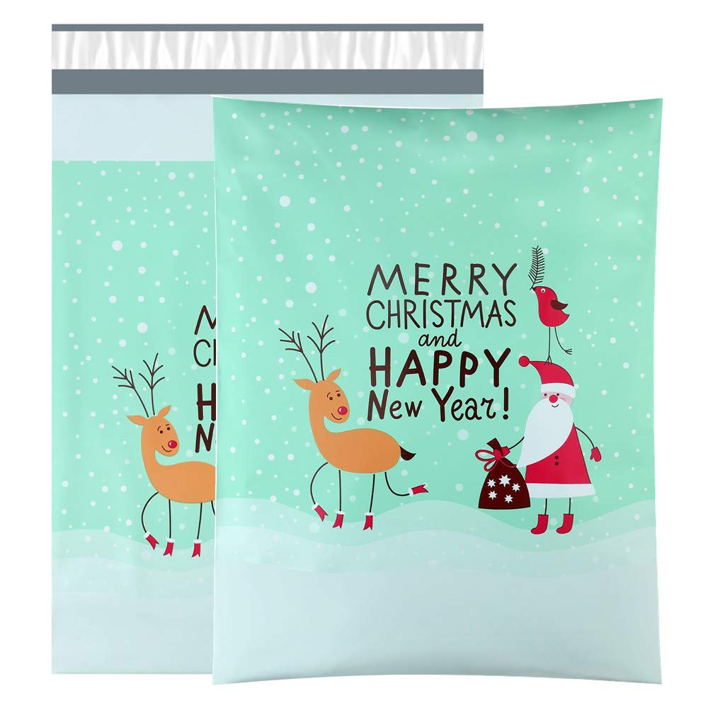 UCGOU 10x13 Poly Mailers Shipping Envelopes Boutique Custom Bags, Premium Santa Claus and Elk Designer, Thickness 2.35MIL, Pack of 100