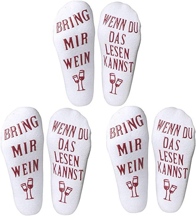 Sanmio Witzige Socken Baumwolle Dickes Strick Socken Mit Der Aufschrift Bring Mir Wein Gastgeber Geburtstagsgeschenk Oder Geschenk Weihnachten Für