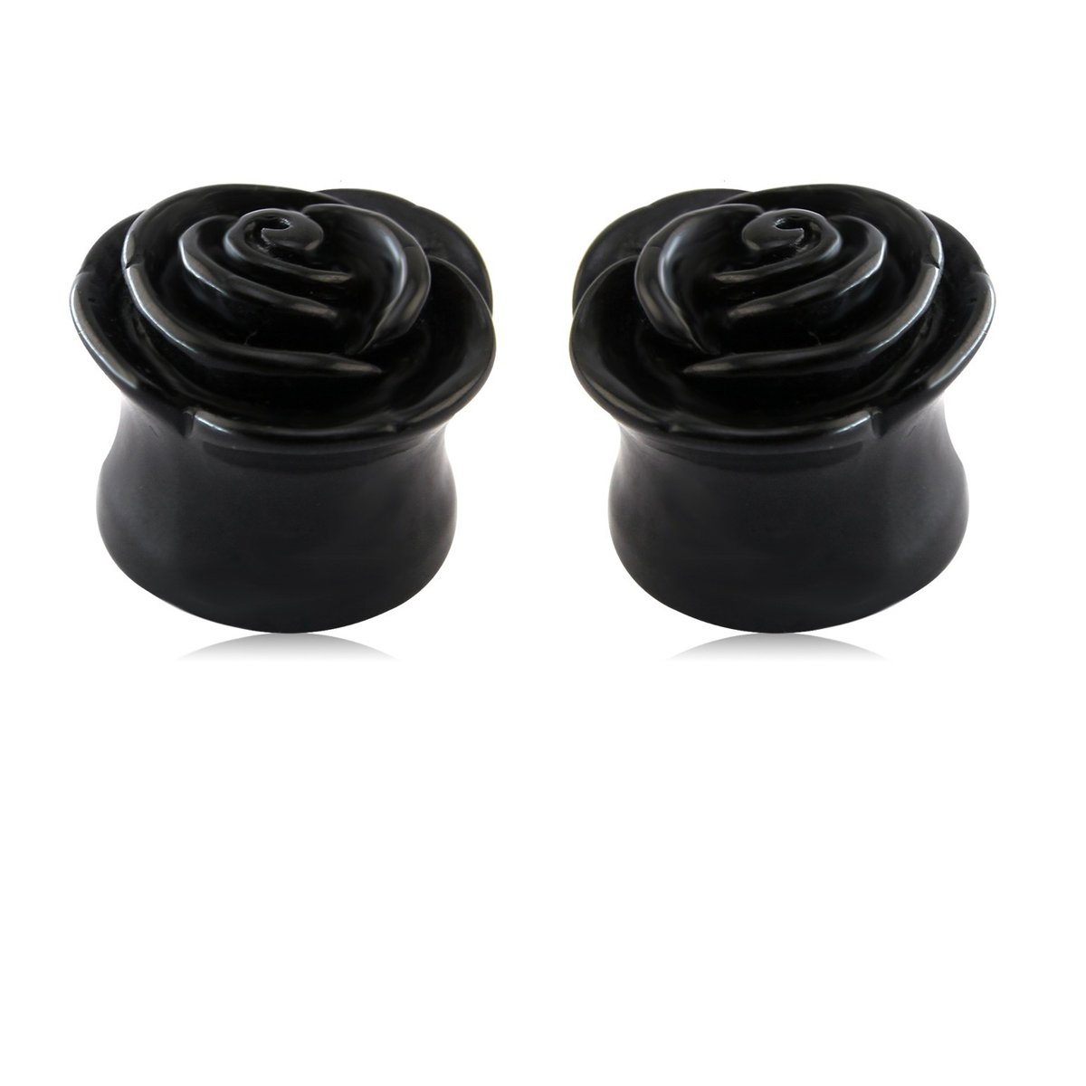 1 Pair Black Rose Shape Obsidian Stone Ear Plugs Stretching Ear Piercing MissDaisy
