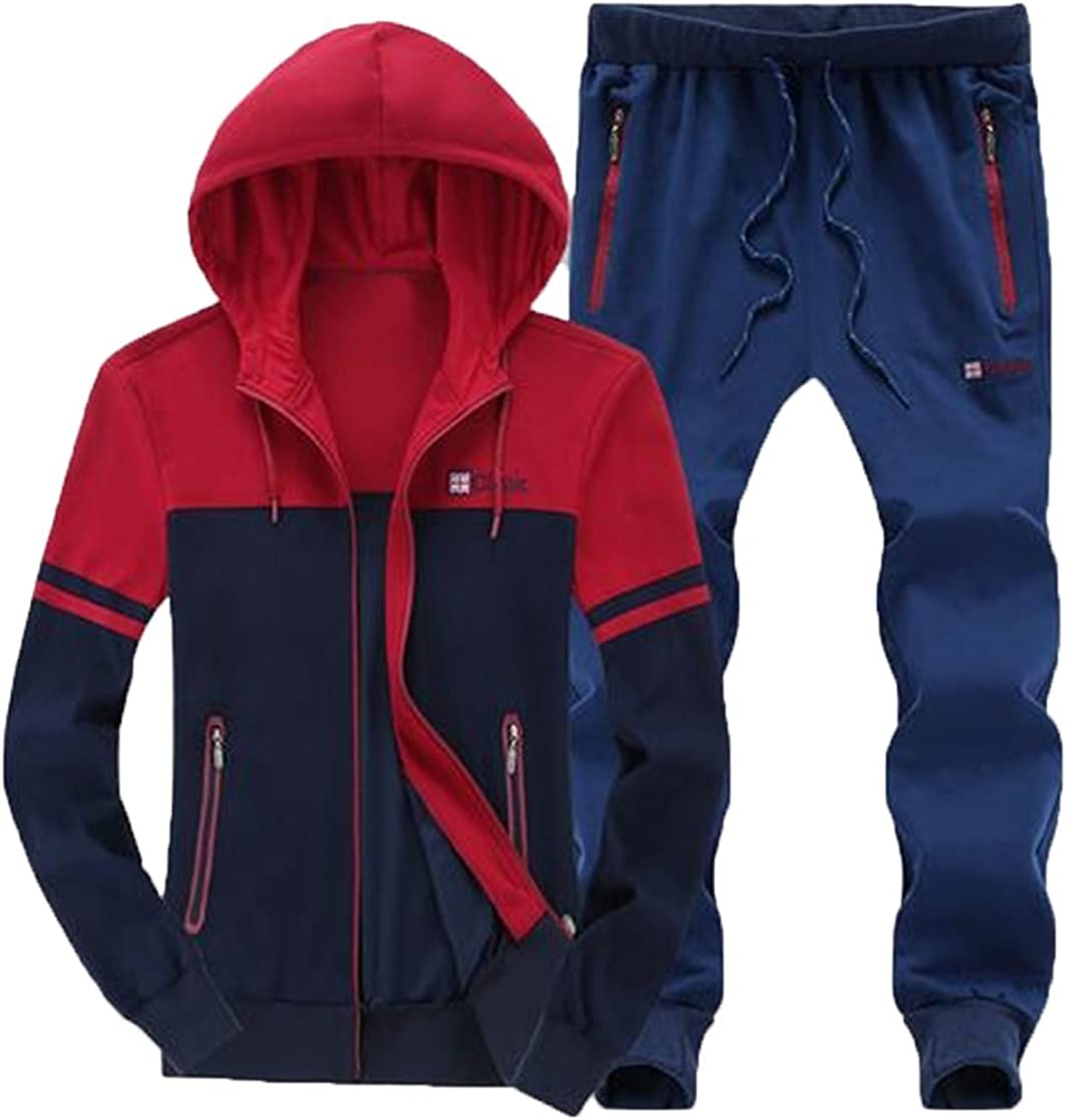 MOUTEN Mens Gym Workout Two Piece Outfits Plus Size Hoodies Pants Sweatsuits Tracksuits