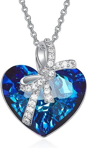 Bijours Colliers Coeur Bleu, Pendentif Cristal Swarovski,Colliers Femme,  Cristal Bleu Collier Cadeau d'anniversaire Noel