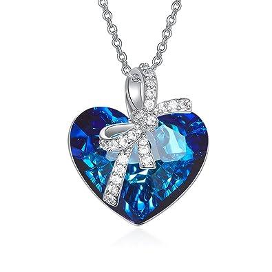 c47f73c8dad3 YOURDORA Mujer Oro Blanco Plateado con Azul Cristal Swarovski Colgante de  Corazon del Océano Collar del Titanic Joyas de Moda Regalo  Amazon.es   Joyería