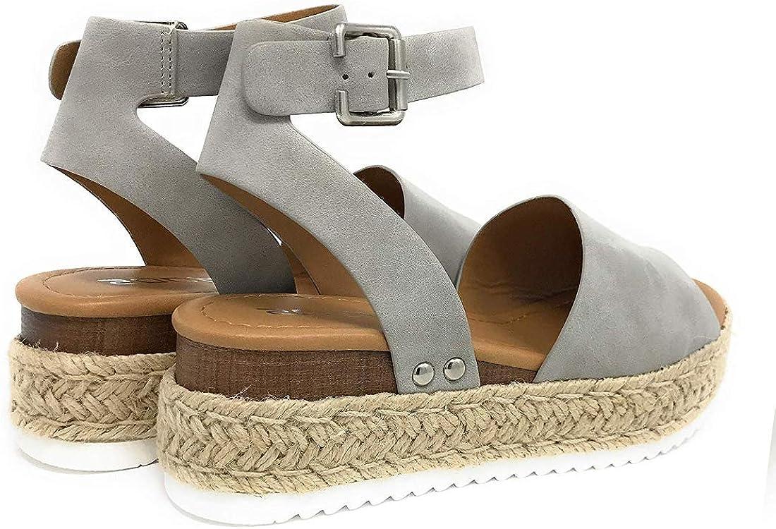 Sandalias Mujer Verano 2020,Pulchram C/á/ñamo Fondo Grueso Sandalias Punta Abierta Cuero Fondo Plano Zapatos Bohemias Romanas Hebilla Zapatillas