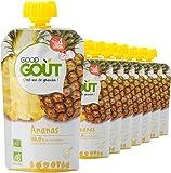 Good Goût - BIO - Gourde de Purée de Fruits à l'Ananas dès 4 Mois 120 g - Pack de 10
