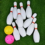 Bowling Set Game 10 Pins 2 Balls Classical Sport Toy Indoor Portable Bag Big Large for Kids Baby Boy Toddlers, US Store