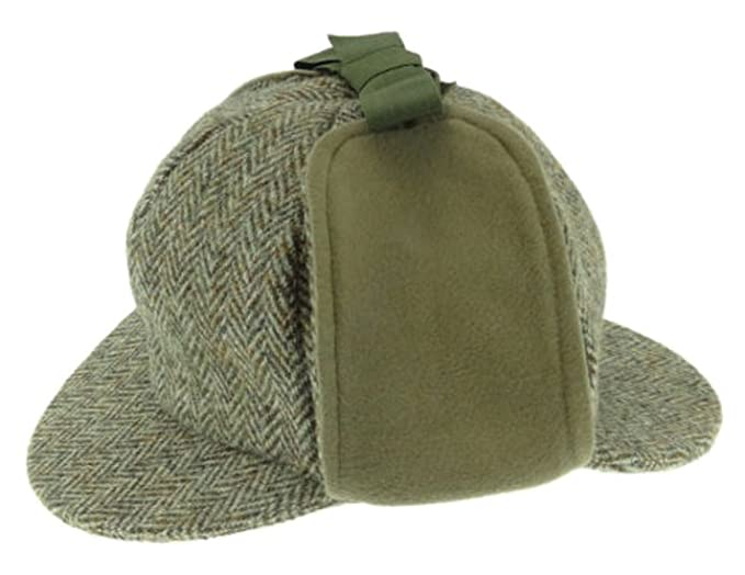 0b253ed2536 Harris Tweed Mens Green Herringbone Sherlock Deerstalker Hat - Made by Glen  Appin Since 1903 (XL)  Amazon.co.uk  Clothing