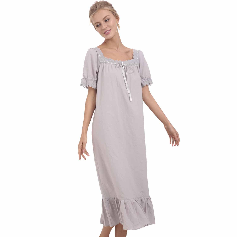 Bridess Women Cotton Lace Vintage Short Sleeve Long Nightgown Sleepwear