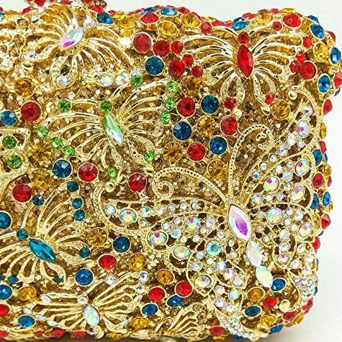 XLJJB Borsa A Pochette da Cerimonia Nuziale da Sposa con Pochette in Cristallo con Farfalla Color Oro, Minaudiere 1