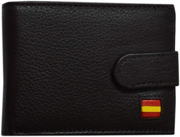 Cartera de Piel, Color Negro con Bandera de España. Medida: 11 x 8 ...