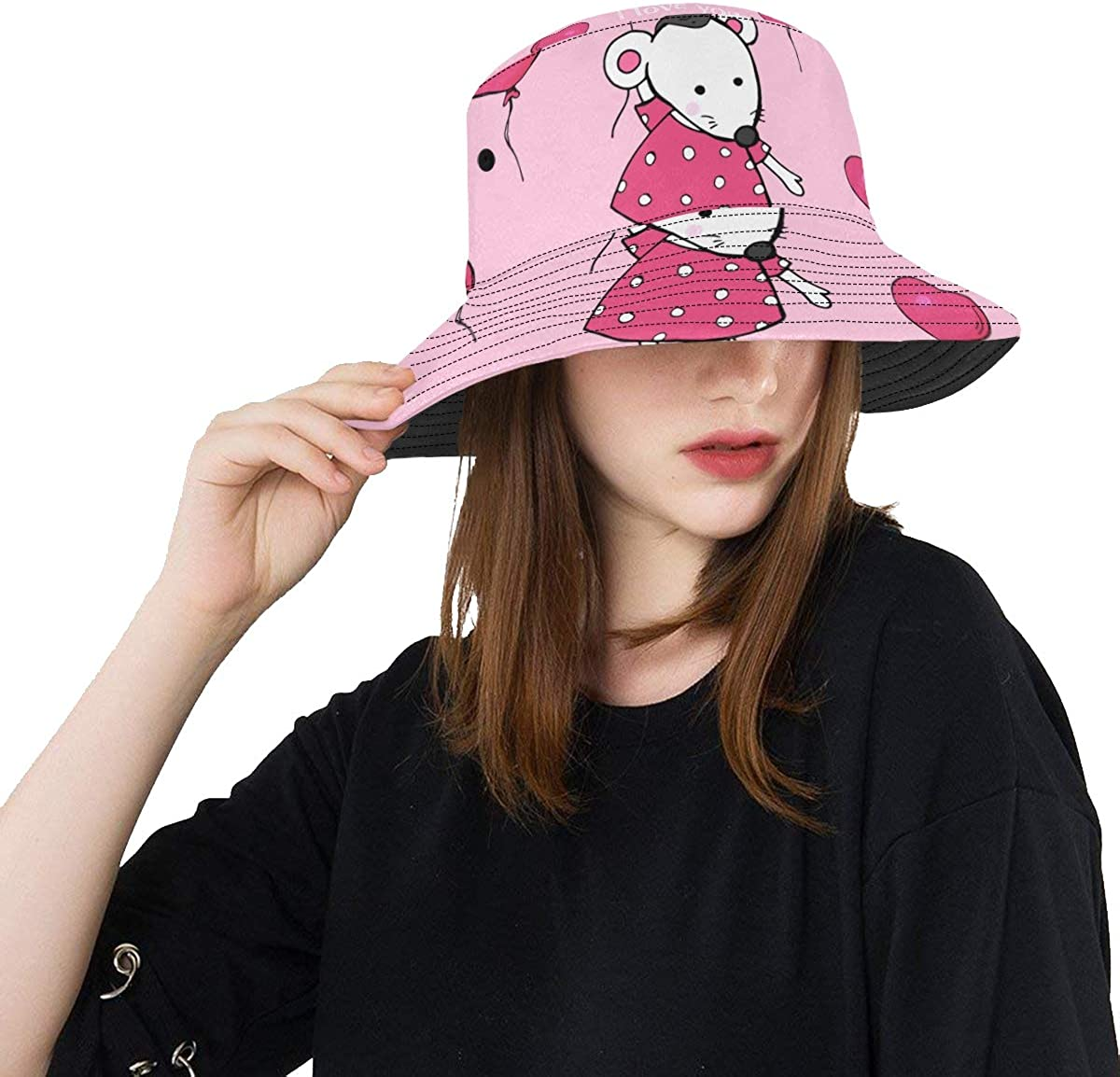 Cute Mouse Hold Ballons Summer Unisex Fishing Sun Top Bucket Hats for Kid Teens Women and Men with Packable Fisherman Cap for Outdoor Baseball Sport Picnic