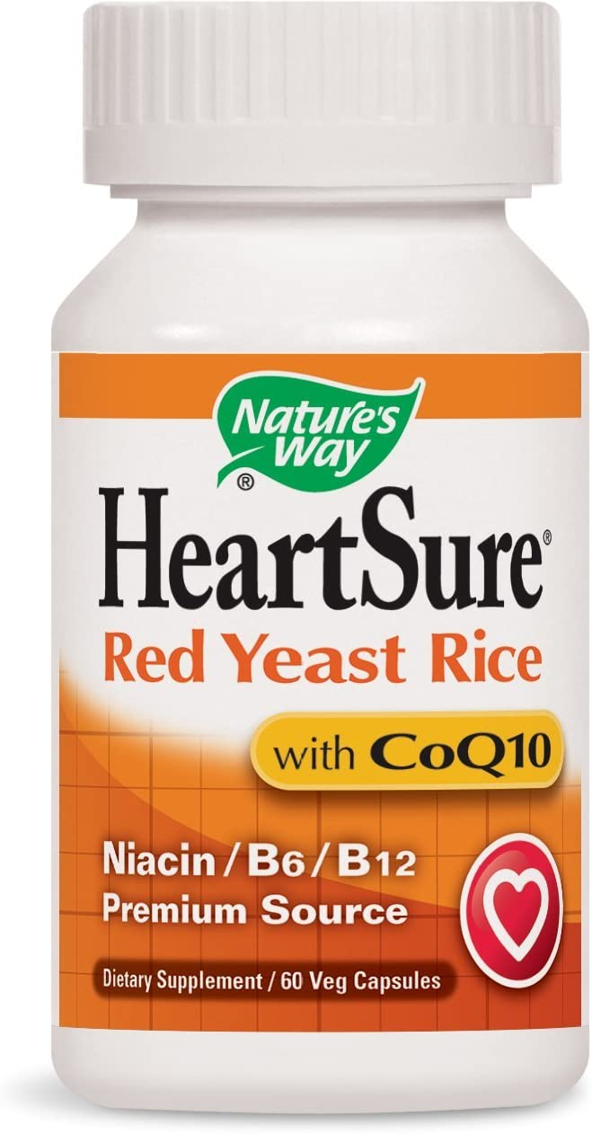 Nature s Way HeartSure Red Yeast Rice with CoQ10 Niacin B6 B12 Premium Source, 60 Vcaps