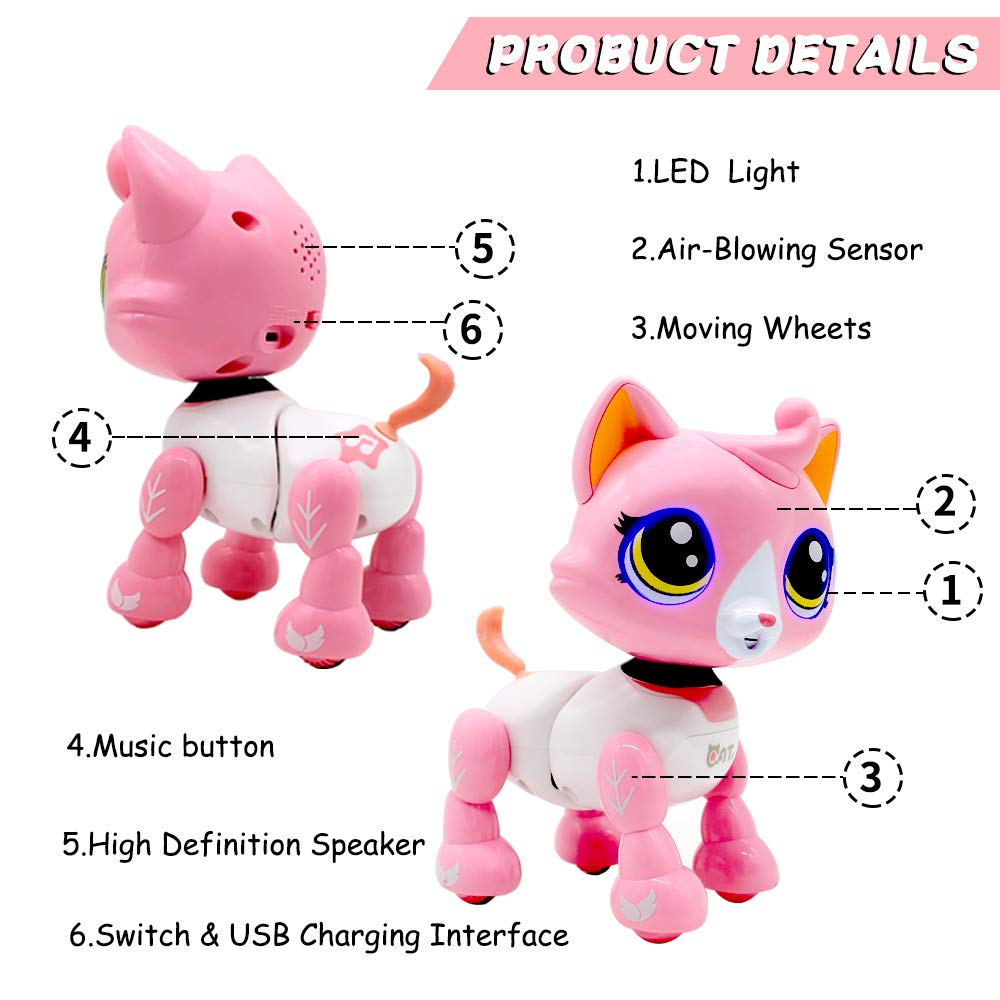 Yehtta Gifts for 3-8 Year Old Girls Robot Cat Toddler Interactive Toy Pet Autism Toys Electronic Toy Catty Kids Gifts Pink by Yehtta (Image #2)