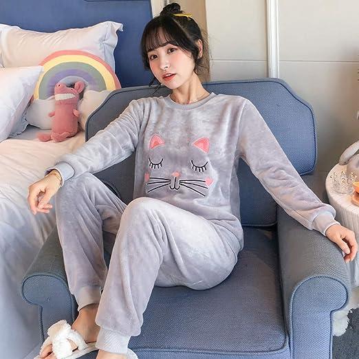 BLINGHG Otoño Invierno Mujer Pijamas de Franela Conjuntos ...