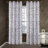 Anady Top Simple Elegant Flower Valance Black White 2 Panel Decro Short Swags Curtains Tiers 24 inch Long Grommet Top(Customized Available) For Sale
