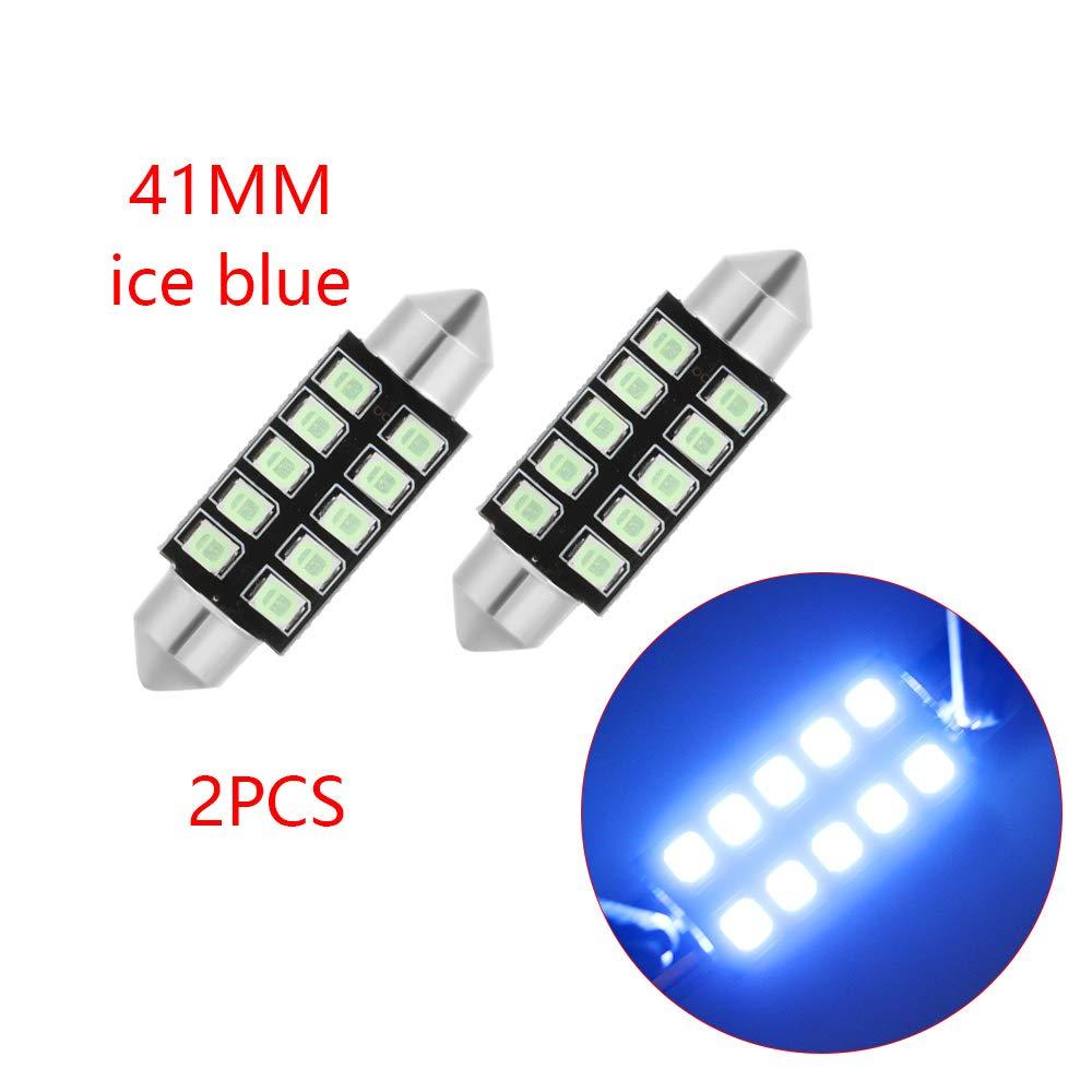 2Pcs Dachbrett mit wei/ßem EIS blau rosa DC12V 31mm 36mm 39mm 41mm Auto Dome Gl/ühbirne LED-Gl/ühbirne Auto Indoor CANBUS Lampe kein Fehler