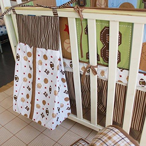 NAUGHTYBOSS Boy Baby Bedding Set Cotton Cartoon Bear Play Baseball Pattern Quilt Bumper Bedskirt Fitted Diaper Bag 8 Pieces Set Blue by NAUGHTYBOSS (Image #7)