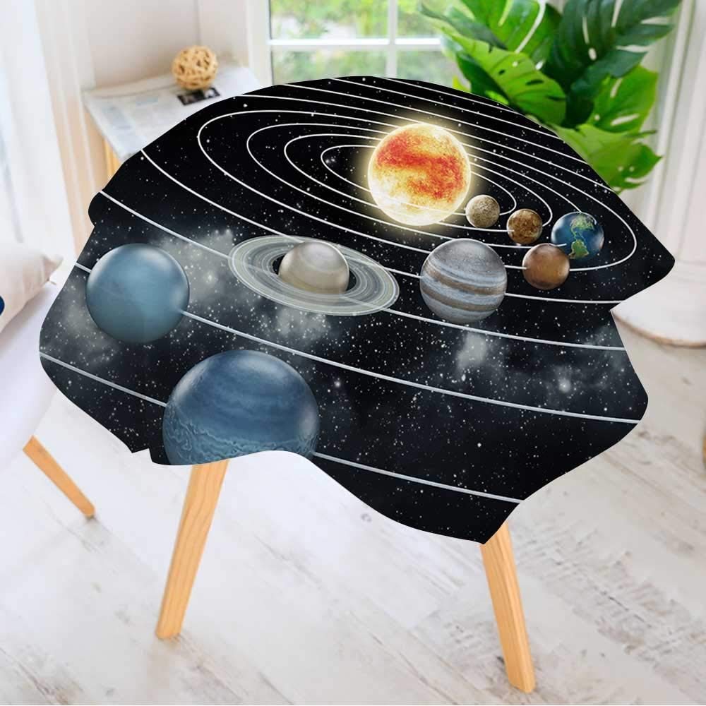 Leighhome Spillproof Polyester Fabric Round Tablecloth- Solar System with Eight Planets. Elegant Printed Table Cloth 43.5'' Round