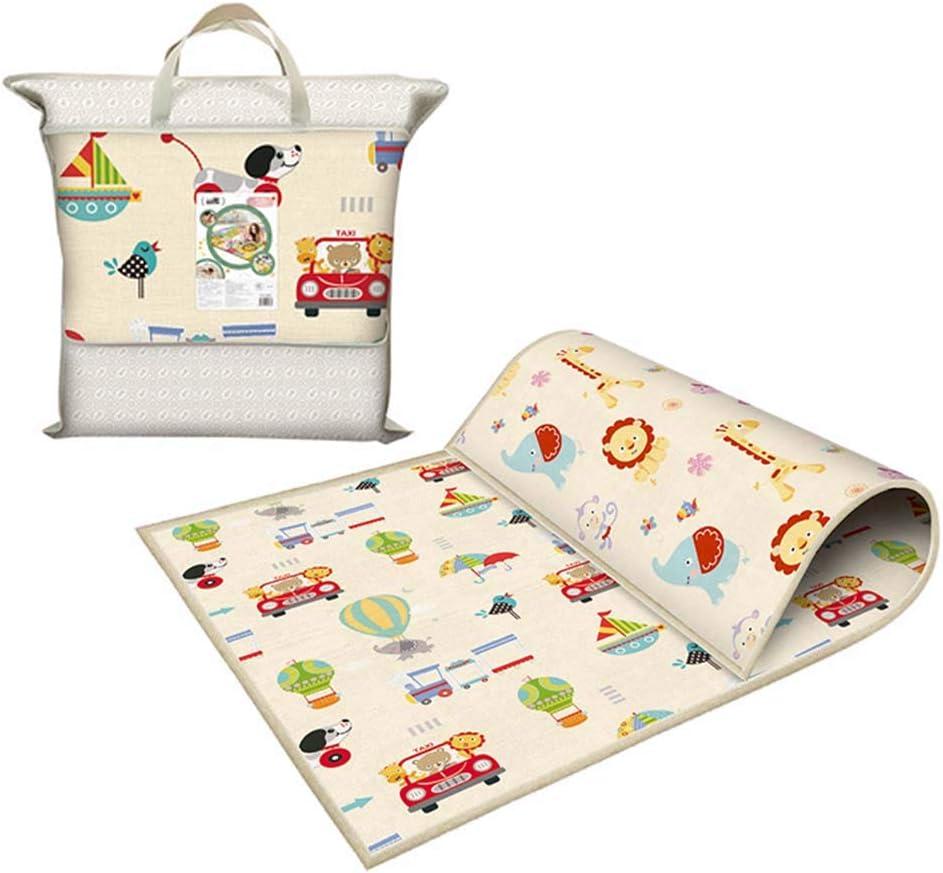 Takefuns Alfombrilla para niños Infantil Juego Alfombra de Juegos Plegable para bebé de plástico LDPE Reversible Impermeable portátil, Extra Grande(200 x 180 x 1 cm)