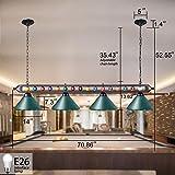 Wellmet Pool Table Lights, 4 Lights Billiards Light Pendant, Adjustable Snooker Table Lights with Metal Billiard Decor, Perfect for Game Room, Kitchen Island, Bar, Dinning Room, Green