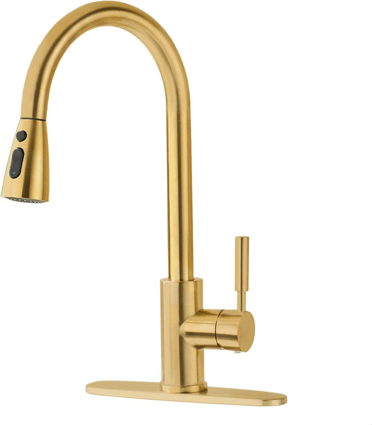 Brushed Gold Kitchen Faucet with Pull Down Sprayer, Fonveth Single Handle High Arc Pull out Kitchen Sink Faucet, Single Hole Kitchen Faucets with Deck Plate,Brushed Brass
