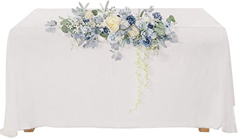 Amazon Com Ling S Moment Dusty Blue Artificial Flower Swag Floral Arrangement Centerpiece For Wedding Reception Sweetheart Table Decorations Tablecloth Included Kitchen Dining