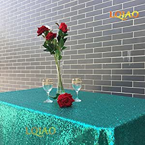 LQIAO 120x400cm Glitter Christmas Green Sequin RECTANGULAR Tablecloth -RECTANGULAR Sequin Table Cloth for Wedding Party Christmas Decoration
