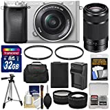 Sony Alpha A6300 4K Wi-Fi Digital Camera & 16-50mm (Silver) with 55-210mm Lens + 32GB Card + Case + Battery & Charger + Tripod + Filters + Kit