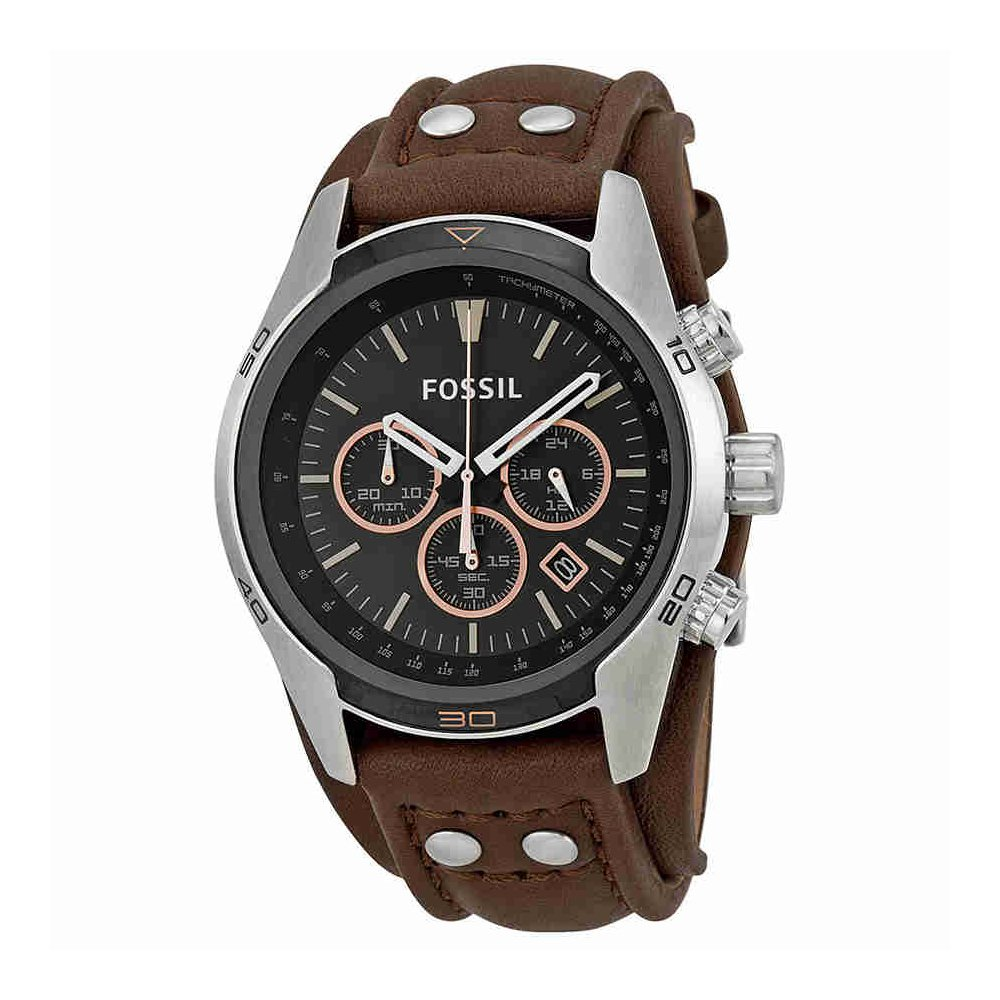 Fossil Men's Coachman Quartz Stainless Steel and Leather Chronograph Watch, Color: Silver, Brown (Model: CH2891) by Fossil