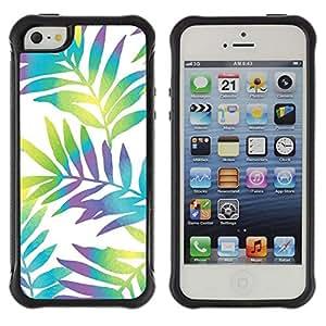 "Pulsar iFace Series Tpu silicona Carcasa Funda Case para Apple iPhone SE / iPhone 5 / iPhone 5S , Branch blancos vibrantes hojas"""