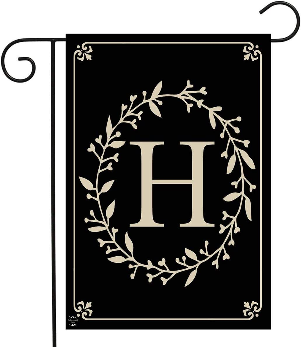 "Briarwood Lane Classic Monogram Letter H Garden Flag Everyday 12.5"" x 18"""