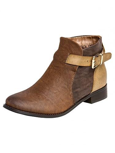 Chaussures à fermeture éclair Caspar Fashion taupe femme g2EQ5uBYRV