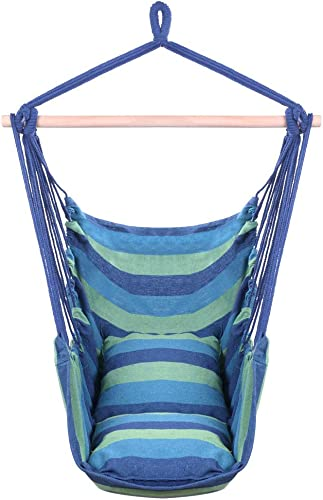 Hug Hammock Swing Chair Hanging Rope Swing Seat with 2 Cushions for Bedroom Indoor Outdoor Cotton Weave Chair for Superior Comfort Durability, Blue