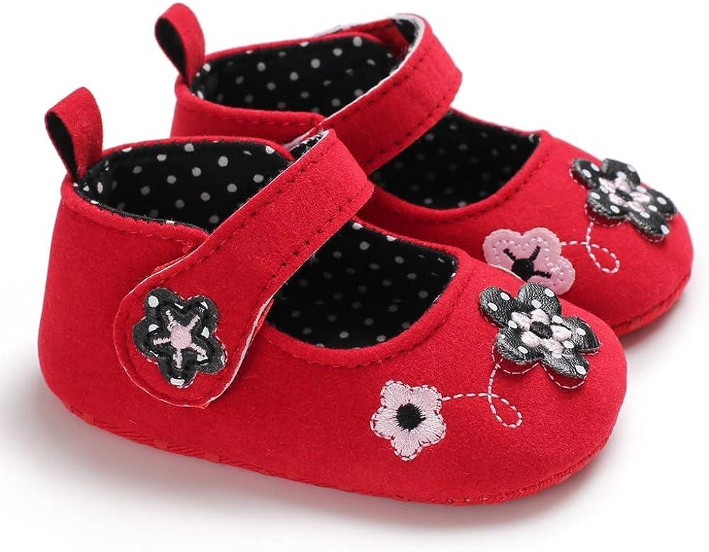 Weixinbuy Newborn Baby Girls Anti-Slip Princess Shoes Soft Sole Mary Jane Flat