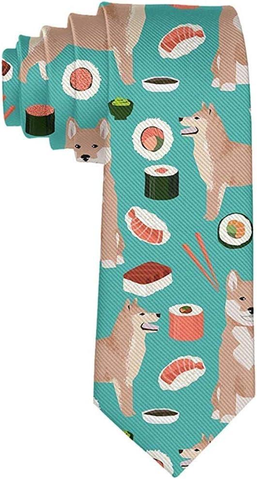 Corbata para hombre Shiba Inu y Sushi Corbata Corbata de seda ...