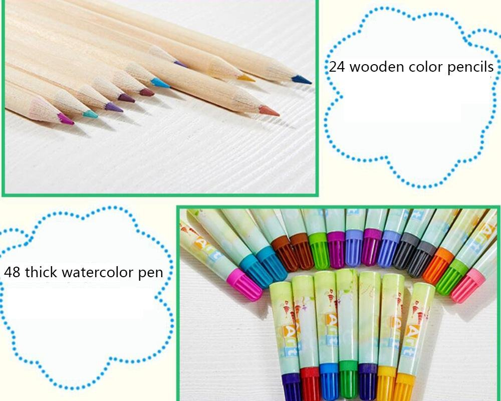 LLZJ Art Drawing Sets Children 288 Pcs Student School Coloured Design Brush Gifts Professional Supplies Stationery Creative Pencils Painting Kids Watercolor Pen, black by LLZJ (Image #7)