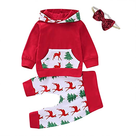 772d5bf25 Amazon.com  PROBABY Baby Girl Christmas Outfits Long Sleeve Hoodie ...